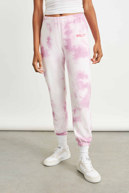 The Ecosoft Classic Jogger by WSLY in Washed Orchid Tie Dye 1