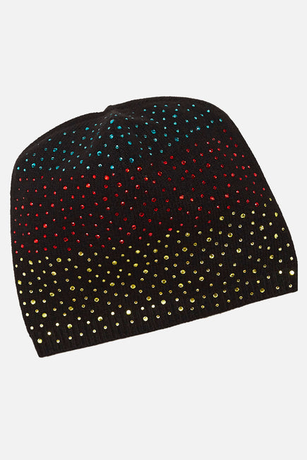 Cashmere Baggy Beanie With Ombre Crystals by Carolyn Rowan in Black W Primary Ombre 1