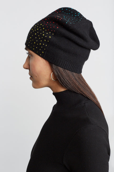 Cashmere Baggy Beanie With Ombre Crystals by Carolyn Rowan in Black W Primary Ombre 2