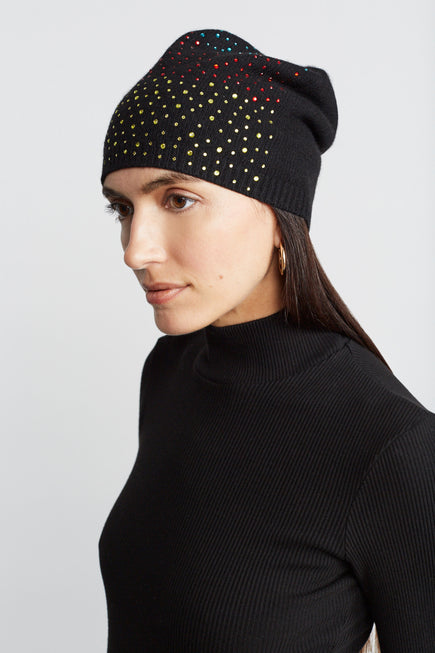 Cashmere Baggy Beanie With Ombre Crystals by Carolyn Rowan in Black W Primary Ombre 4