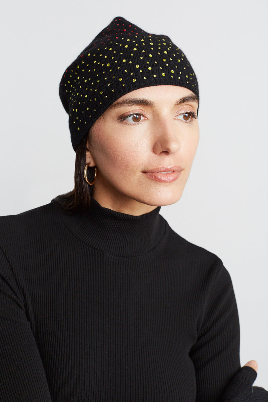 Cashmere Baggy Beanie With Ombre Crystals by Carolyn Rowan in Black W Primary Ombre 3