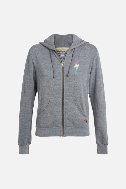 Bolt Zip Hoodie by Aviator Nation in Heather/rainbow Pink 5