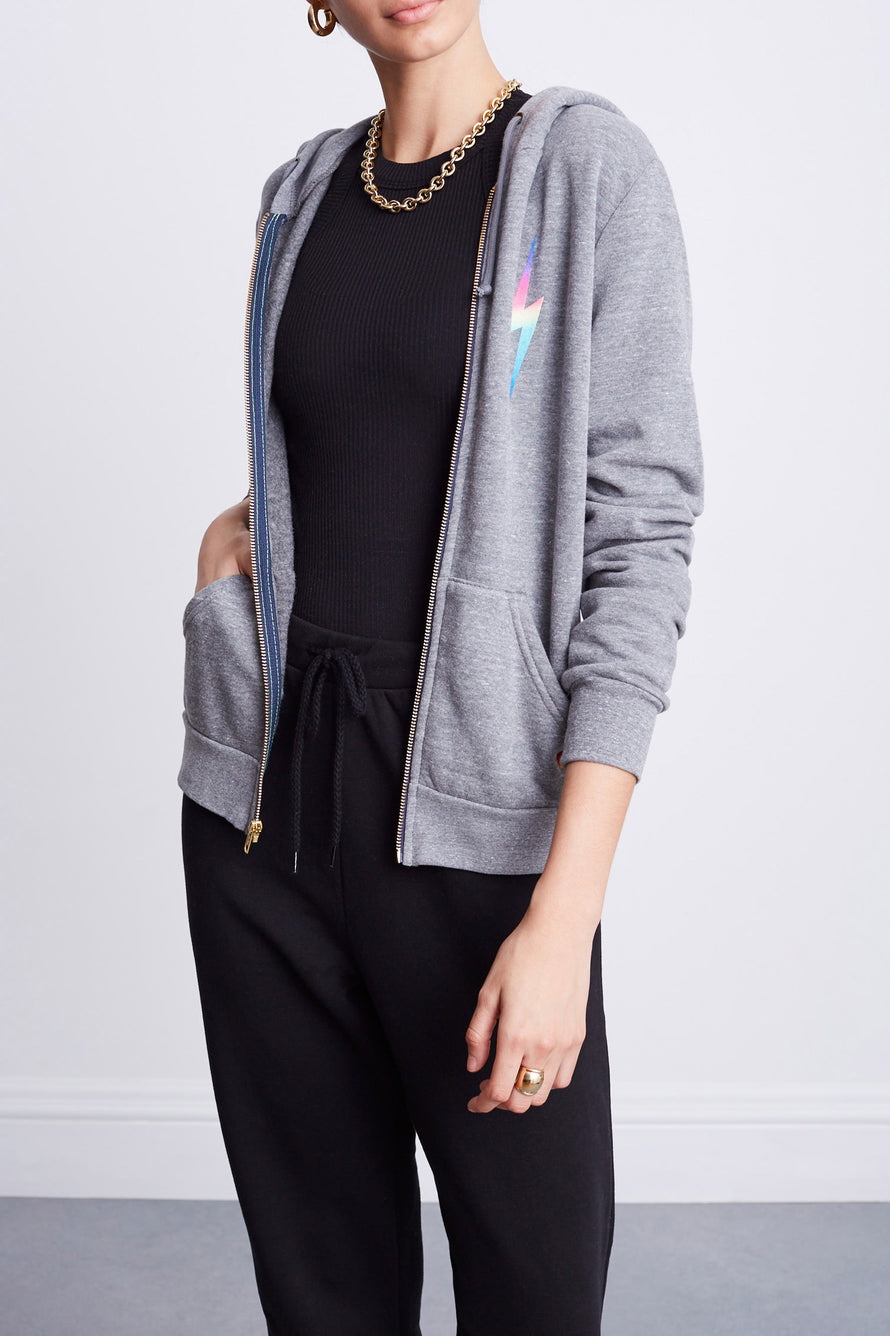 Bolt Zip Hoodie by Aviator Nation in Heather/rainbow Pink 2