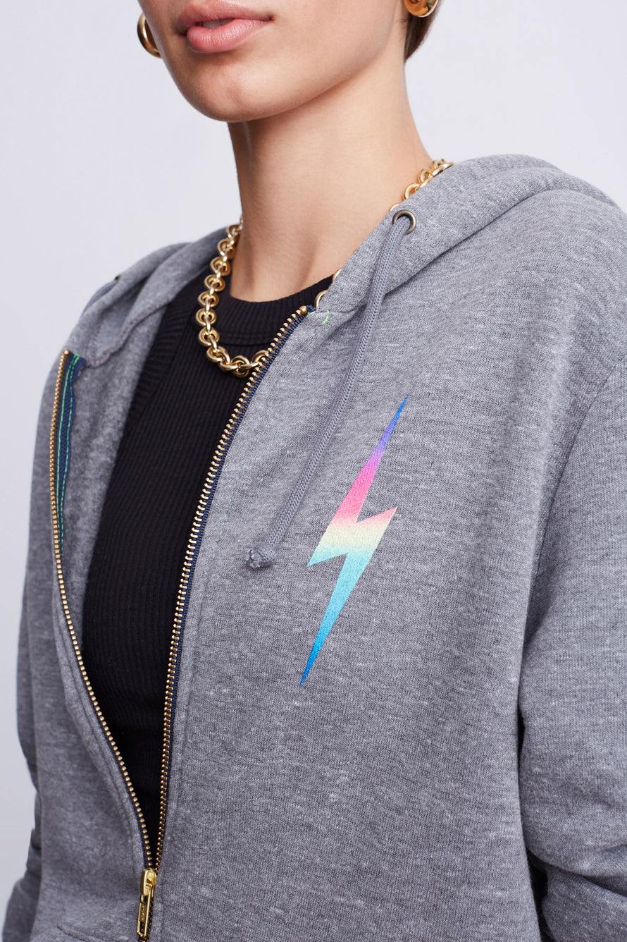 Bolt Zip Hoodie by Aviator Nation in Heather/rainbow Pink 3