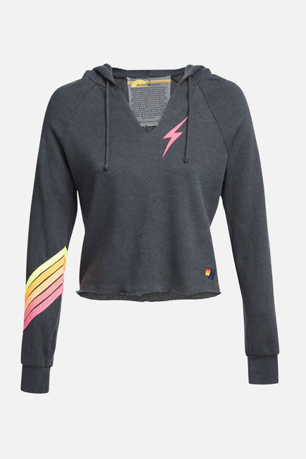 Bolt Stitch Chevron 5 Pullover by Aviator Nation in Charcoal/neon 1