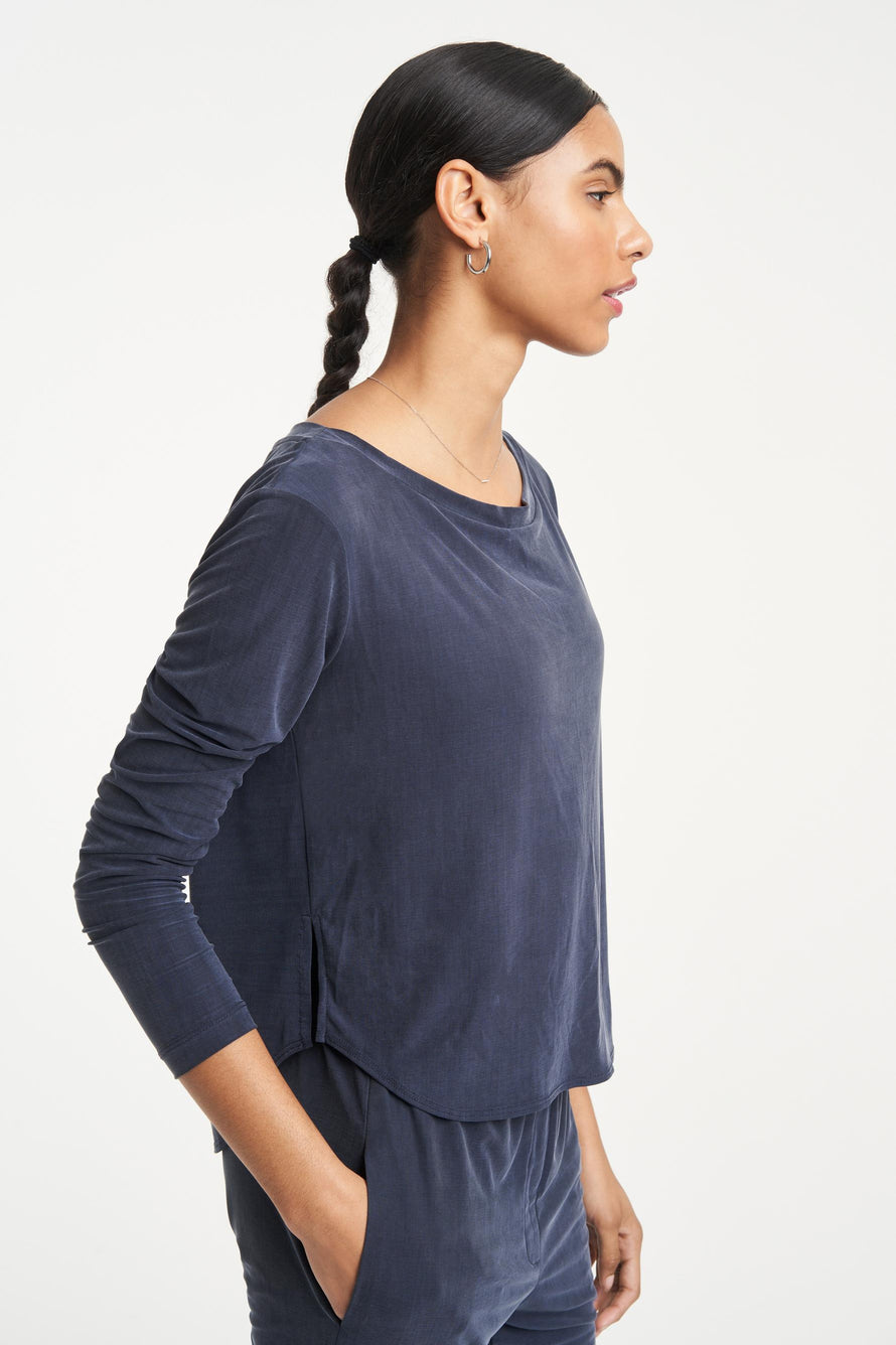 Cupro Top by Heroine Sport in Navy 5