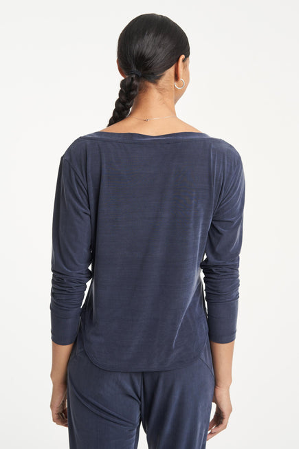 Cupro Top by Heroine Sport in Navy 4