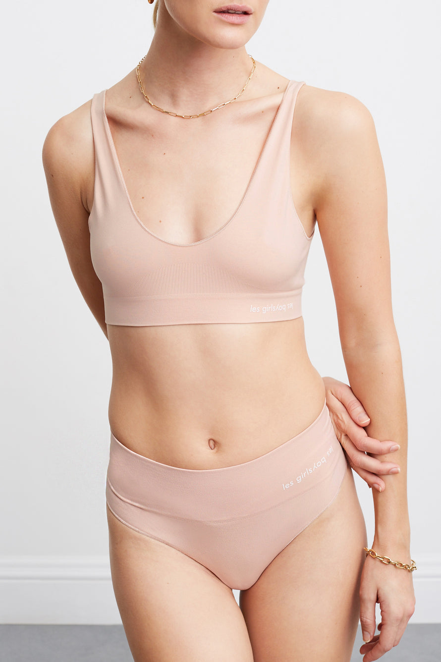 Semi Sheer Crop Top by Les Girls Les Boys in Dusty Pink 1