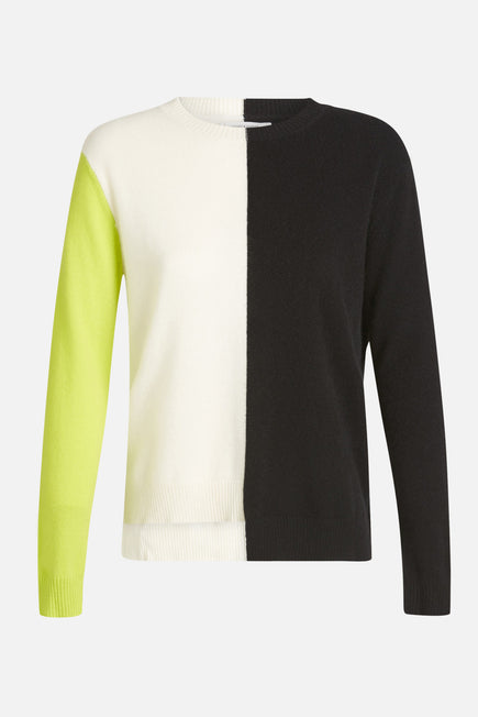 Soft Sweater by Chinti And Parker in Cream/black/lime 6