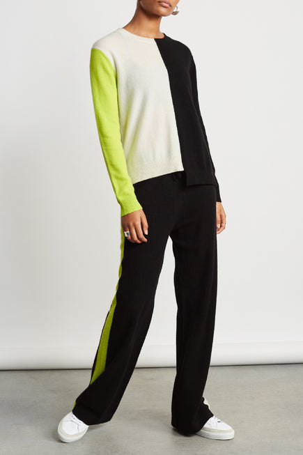 Soft Sweater by Chinti And Parker in Cream/black/lime 2