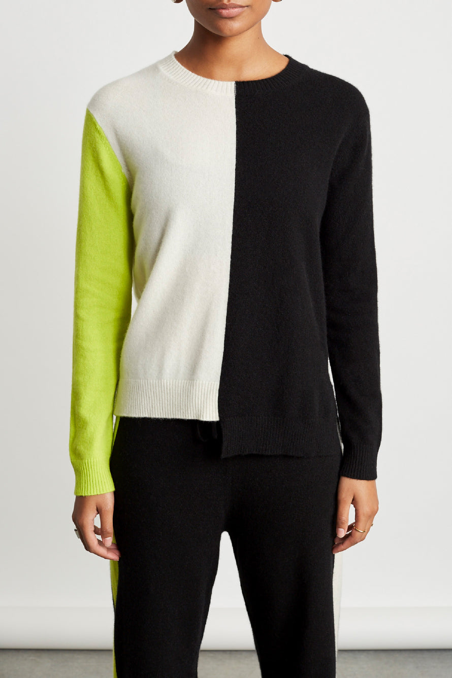 Soft Sweater by Chinti And Parker in Cream/black/lime 5