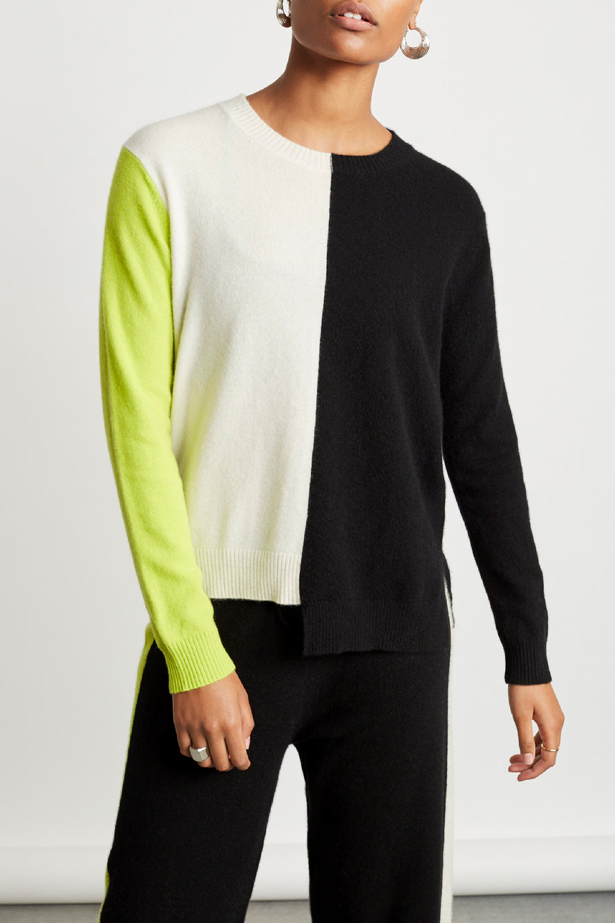 Soft Sweater by Chinti And Parker in Cream/black/lime 1