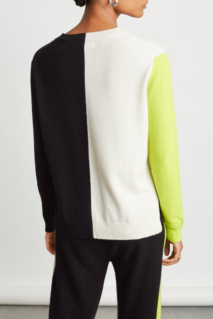 Soft Sweater by Chinti And Parker in Cream/black/lime 3