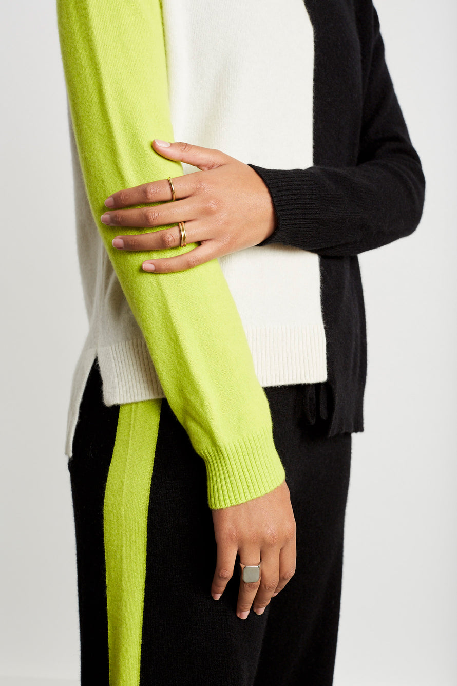 Soft Sweater by Chinti And Parker in Cream/black/lime 4