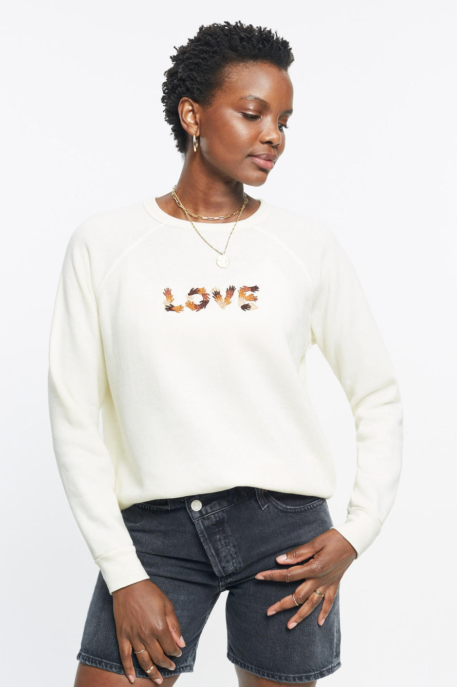 Classic Ultra Cozy Love Raglan Pullover by C.bonz in Cream 2