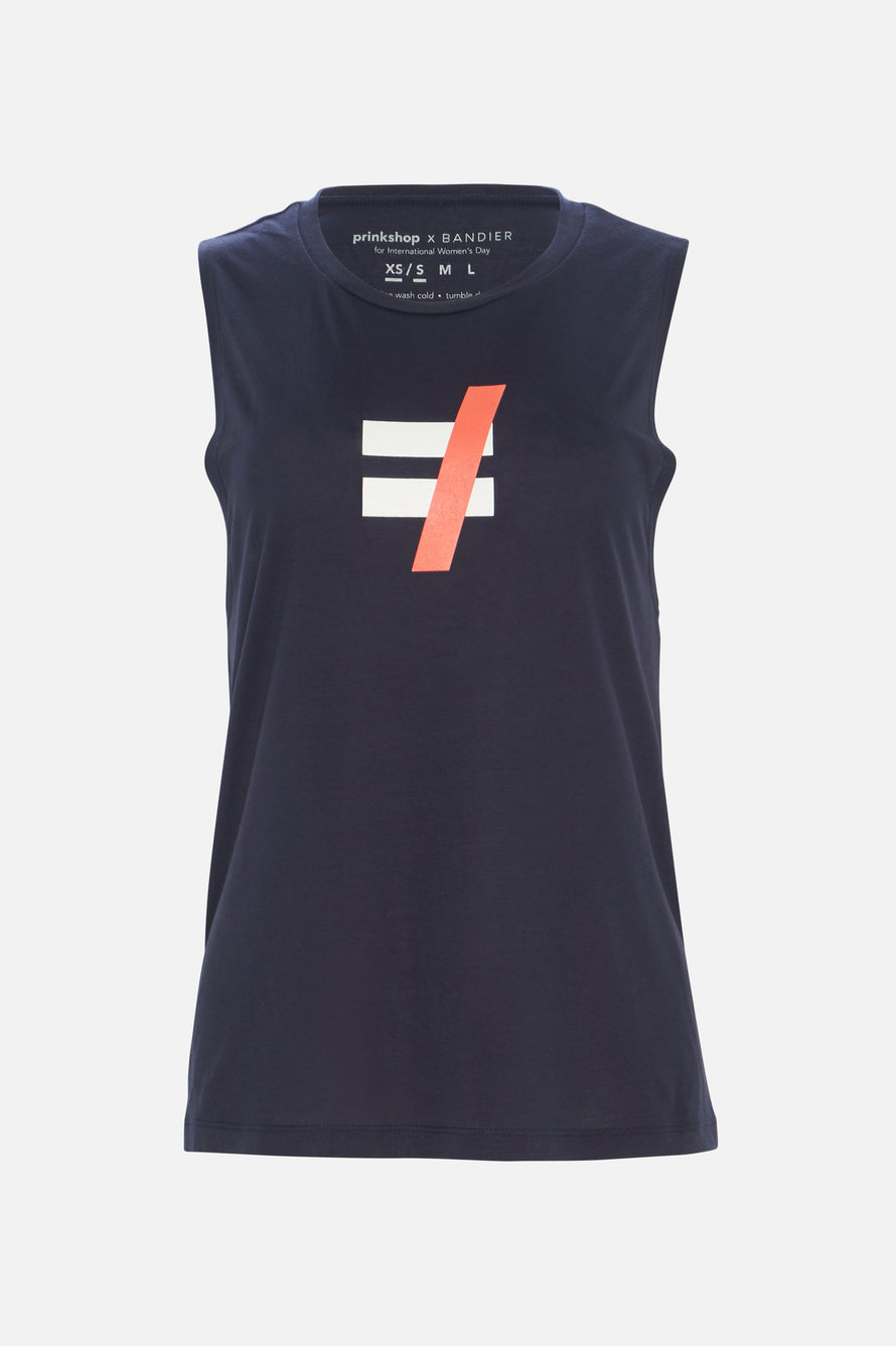 Not Equal Muscle Tank by PRINKSHOP x BANDIER in Navy/coral 6