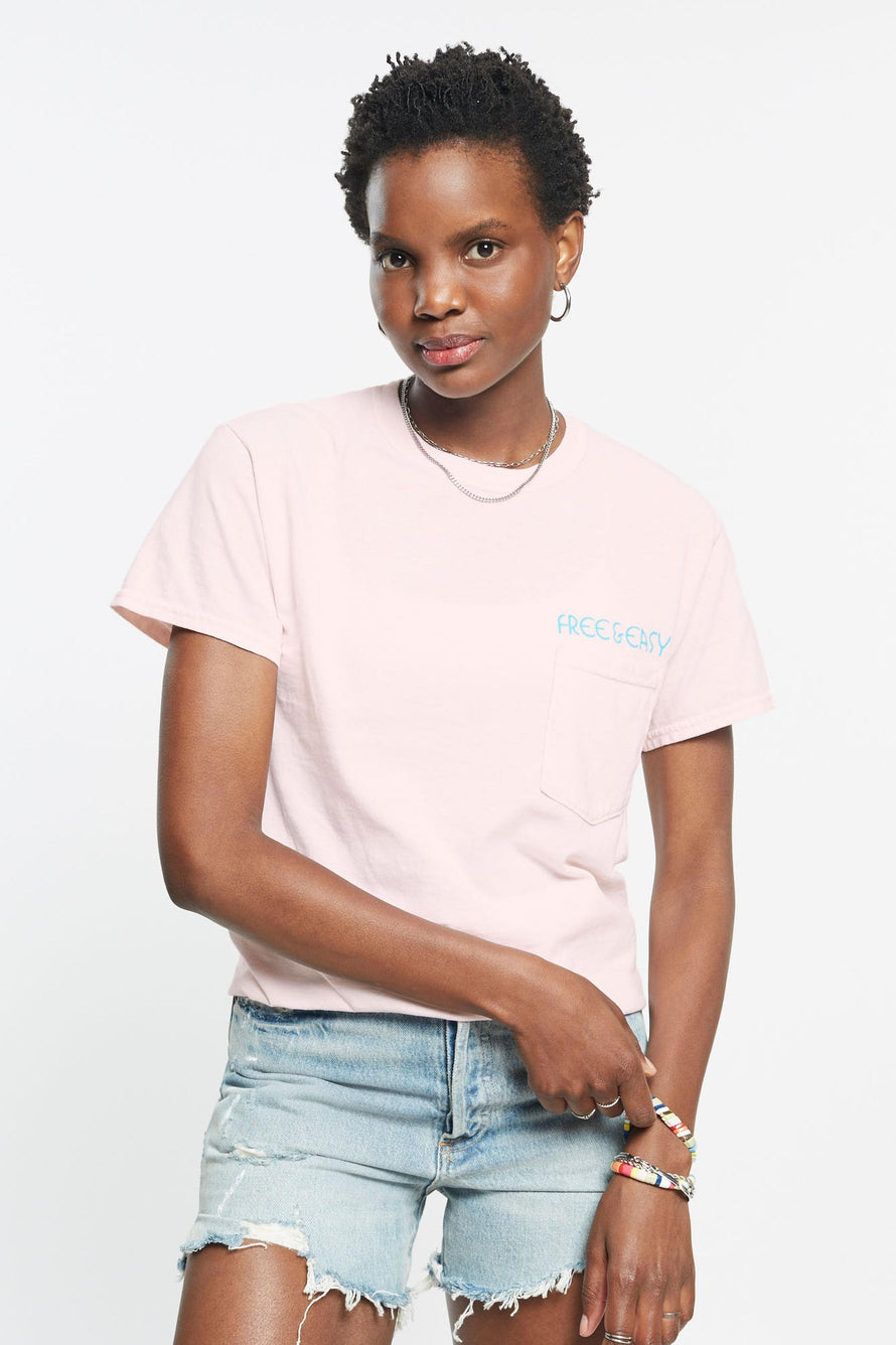 Rainbow Relax Pocket Tee by Free & Easy in Pink 3