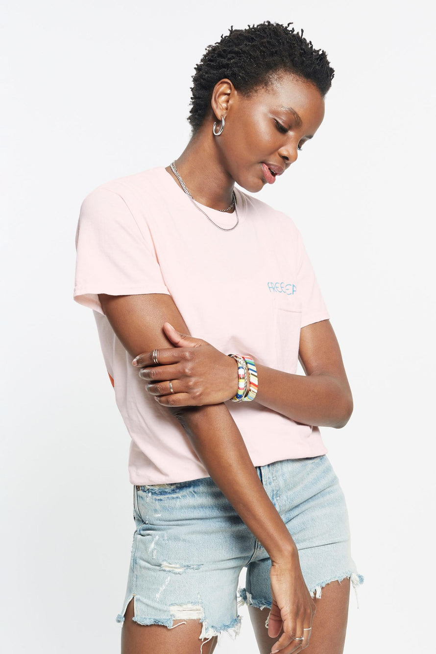 Rainbow Relax Pocket Tee by Free & Easy in Pink 1