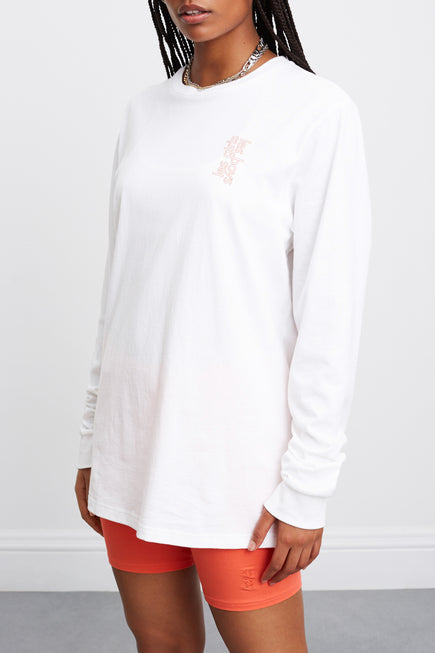 Les Girls Les Boys Puff Logo Longsleeve Tee by Les Girls Les Boys in Hot Coral 4