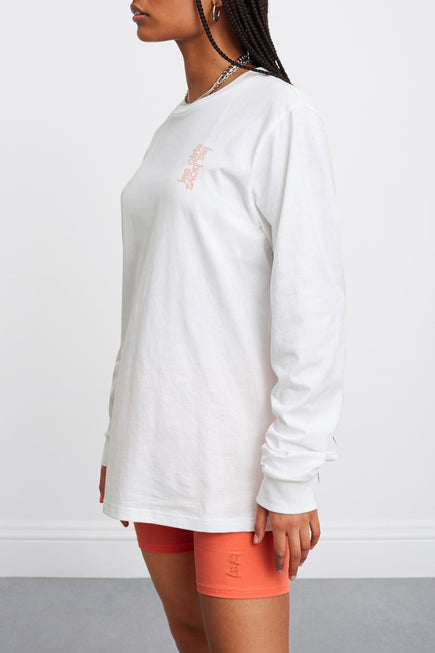 Les Girls Les Boys Puff Logo Longsleeve Tee by Les Girls Les Boys in Hot Coral 3