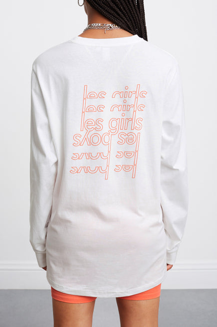 Les Girls Les Boys Puff Logo Longsleeve Tee by Les Girls Les Boys in Hot Coral 2