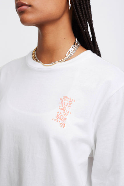 Les Girls Les Boys Puff Logo Longsleeve Tee by Les Girls Les Boys in Hot Coral 1