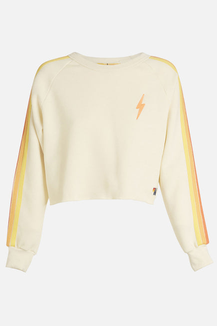 Bolt Cropped Classic Crew Sweatshirt by Aviator Nation in Vintage White/orange 7