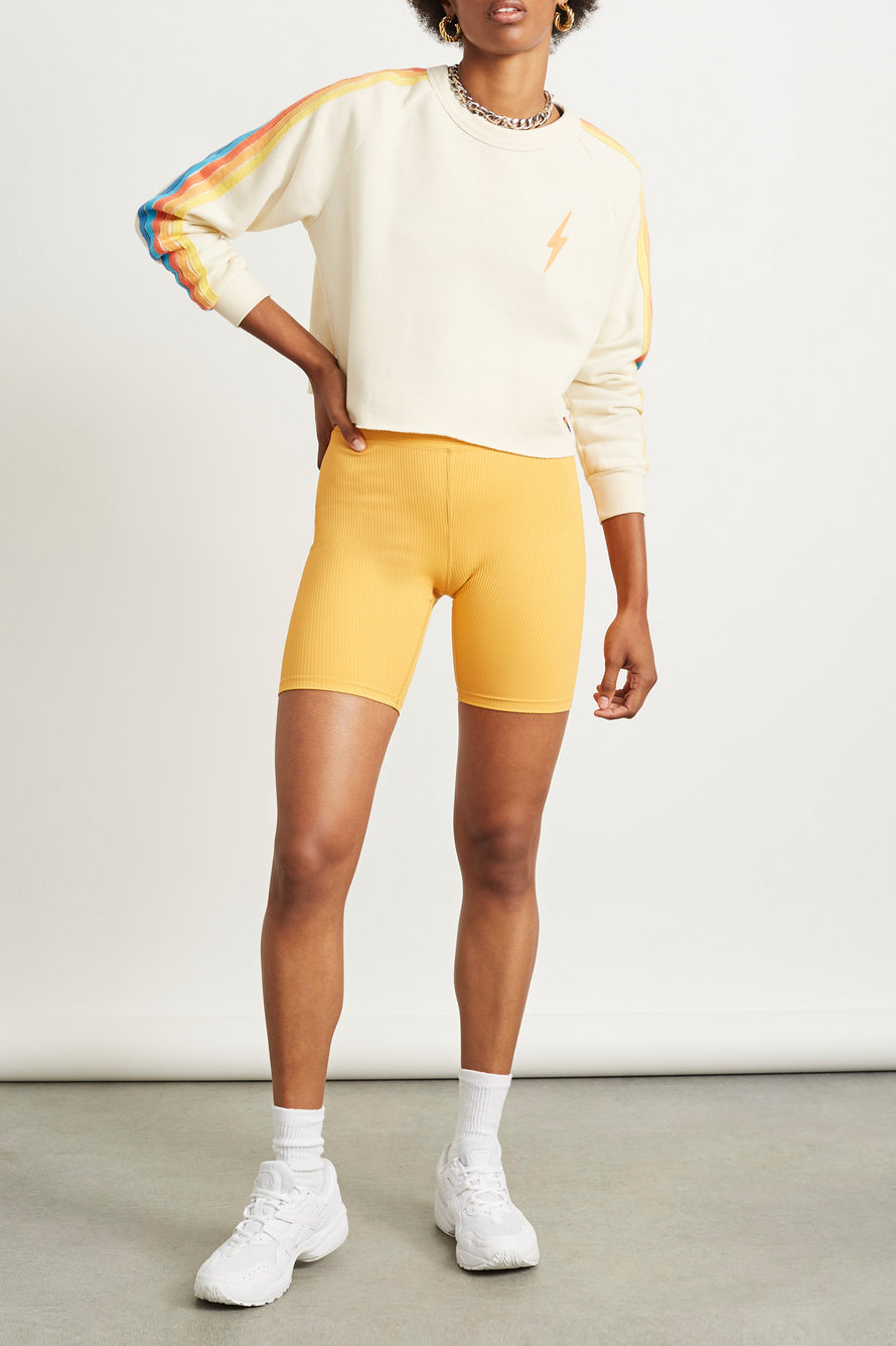 Bolt Cropped Classic Crew Sweatshirt by Aviator Nation in Vintage White/orange 3