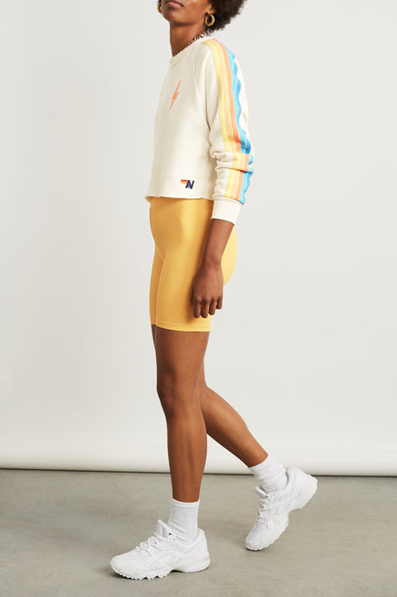 Bolt Cropped Classic Crew Sweatshirt by Aviator Nation in Vintage White/orange 4