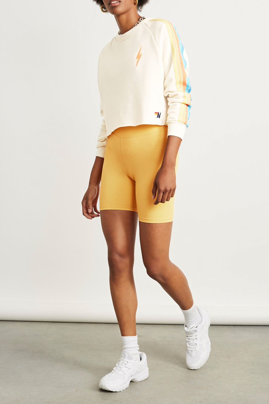 Bolt Cropped Classic Crew Sweatshirt by Aviator Nation in Vintage White/orange 5