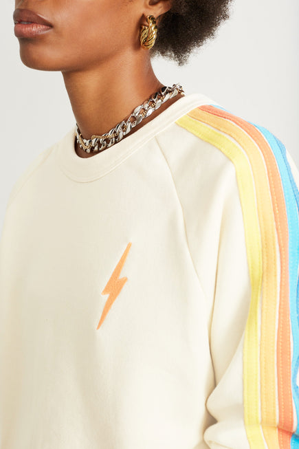 Bolt Cropped Classic Crew Sweatshirt by Aviator Nation in Vintage White/orange 2