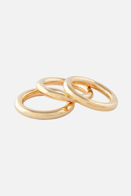 Inner Tube Ring Set by Joolz by Martha Calvo in Gold 1