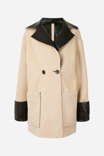 Faux Sherpa Reversible Coat by Proenza White Label in Natural/black 3