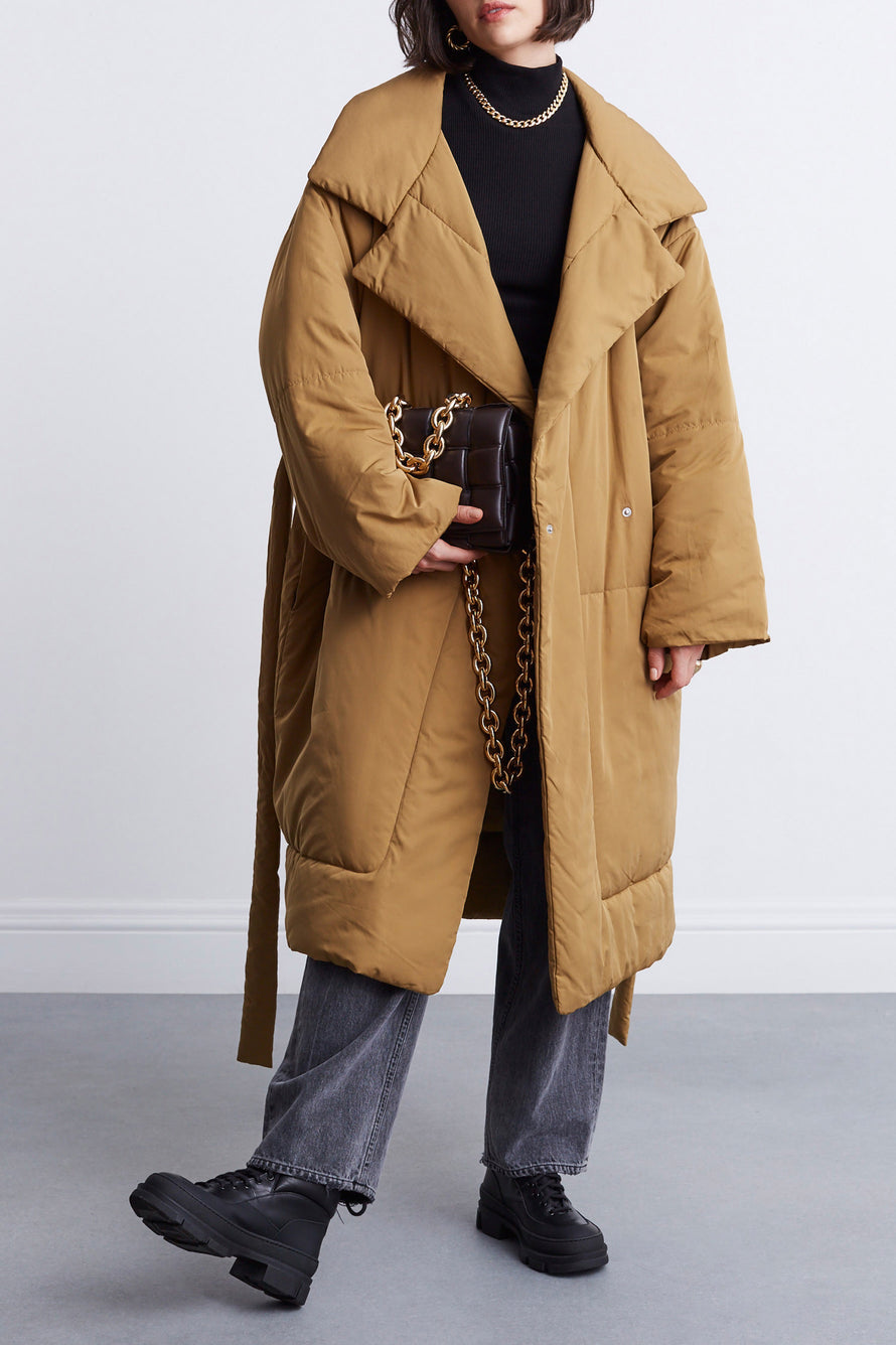 Matte Puffer Long Coat by Proenza White Label in Cider 5