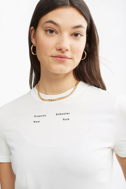 Solid Stretch Jersey T-Shirt by Proenza White Label in Off White 2
