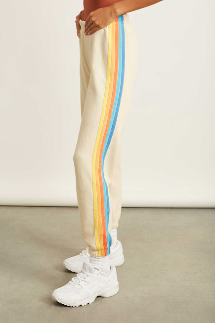 5 Stripe Sweatpants by Aviator Nation in Vintage White/orange 5