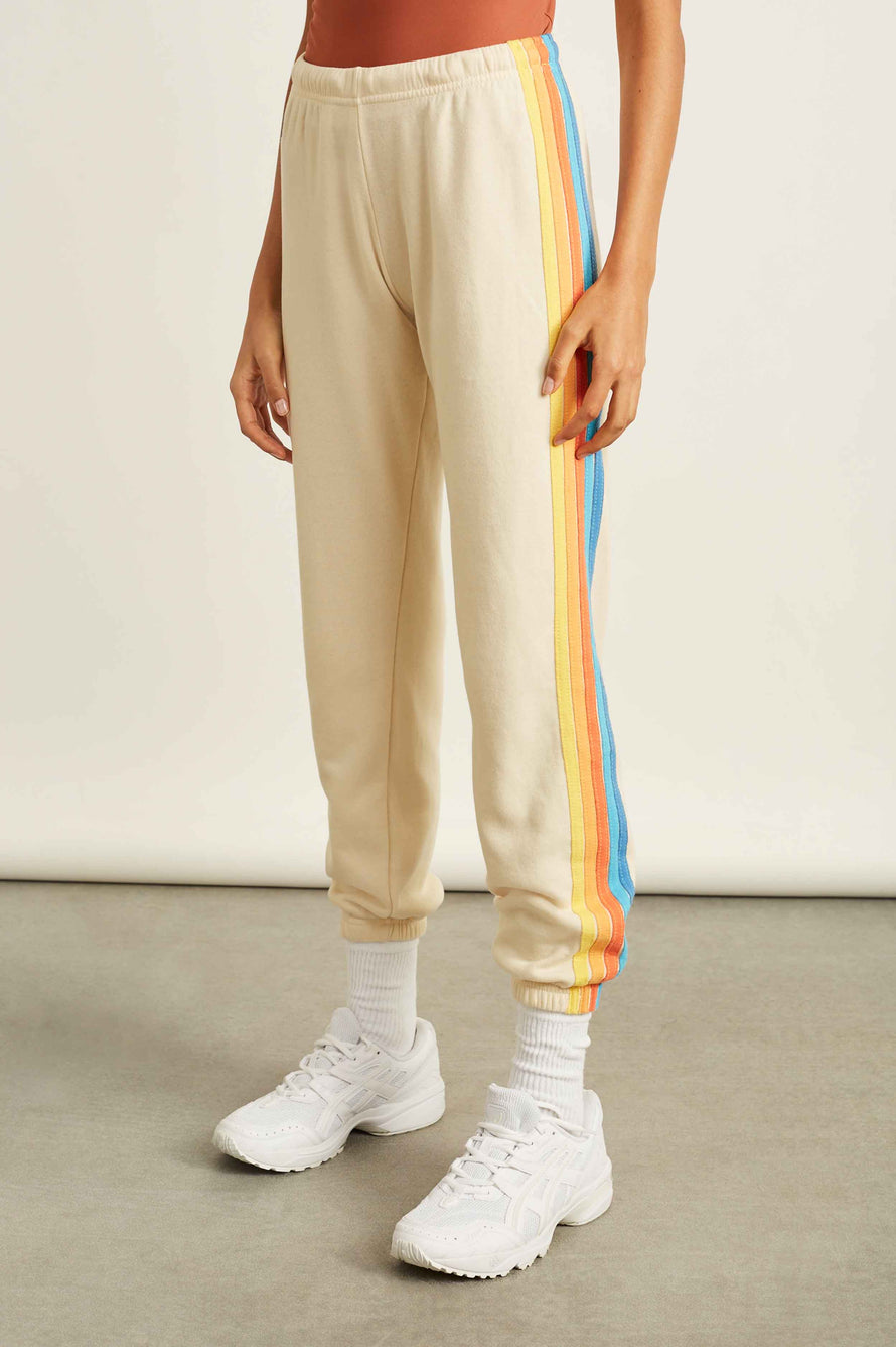 5 Stripe Sweatpants by Aviator Nation in Vintage White/orange 1