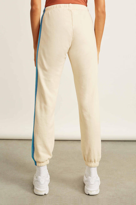 5 Stripe Sweatpants by Aviator Nation in Vintage White/orange 4