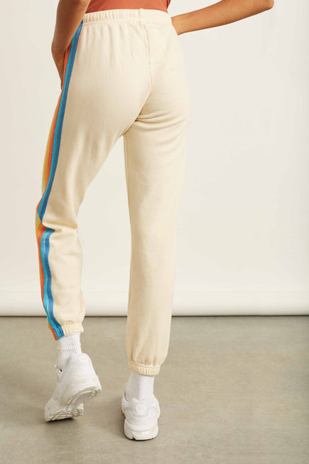 5 Stripe Sweatpants by Aviator Nation in Vintage White/orange 6