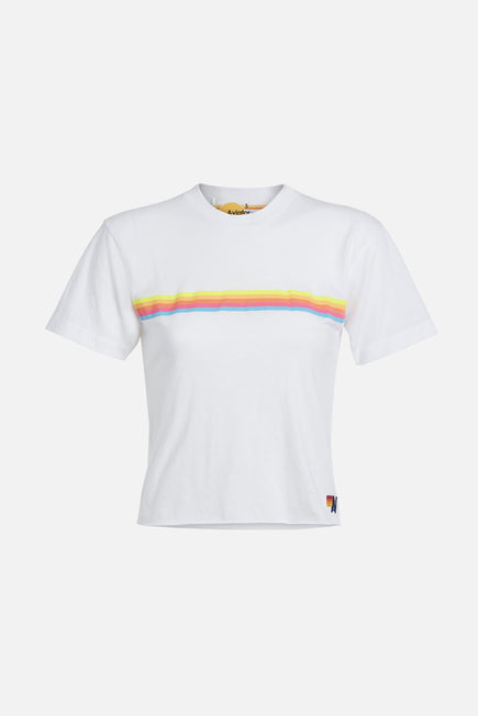 Sunset Boyfriend Tee by Aviator Nation in White/neon Rainbow 1