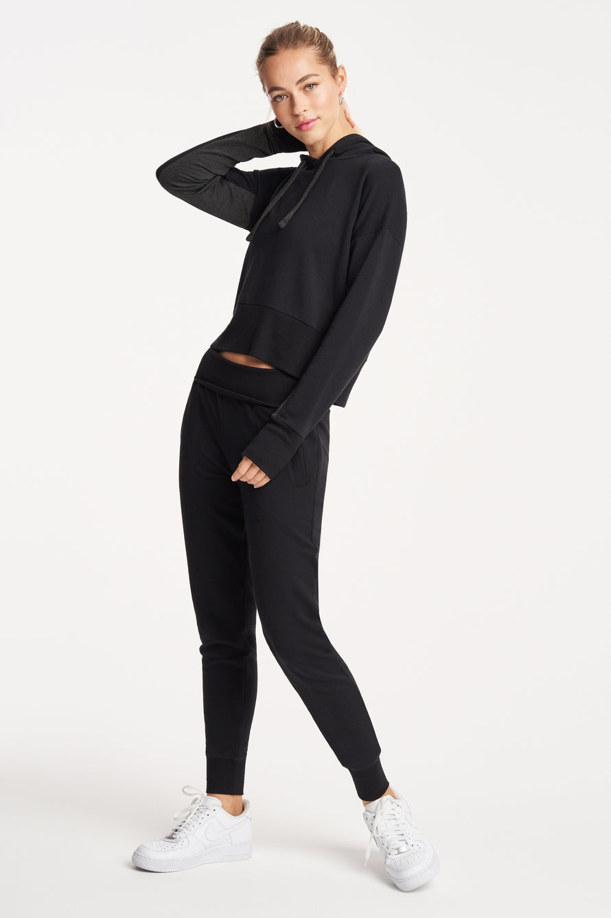 Foldover Long Sweatpant by Beyond Yoga in Black 3