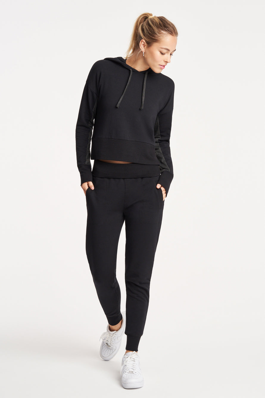 Foldover Long Sweatpant by Beyond Yoga in Black 2