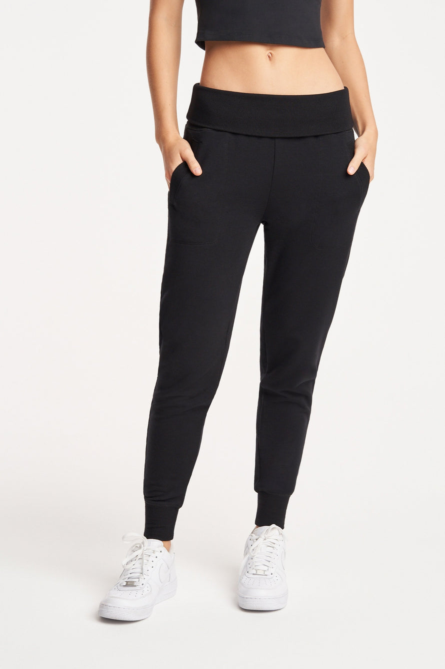 Foldover Long Sweatpant by Beyond Yoga in Black 1