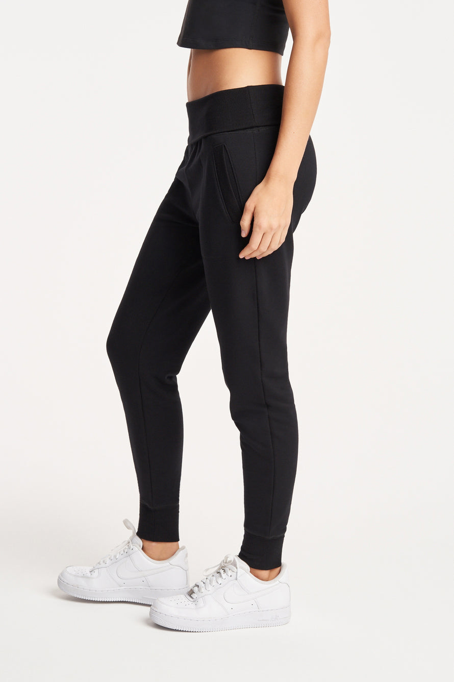 Foldover Long Sweatpant by Beyond Yoga in Black 5
