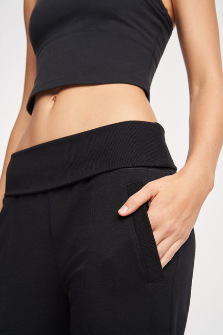 Foldover Long Sweatpant by Beyond Yoga in Black 4