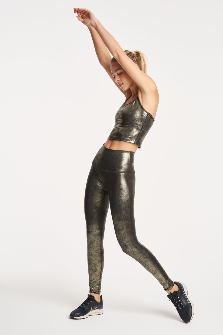 Luxe Leatherette Slim Racerback Crop Tank by Beyond Yoga in Black/Olive Foil 2