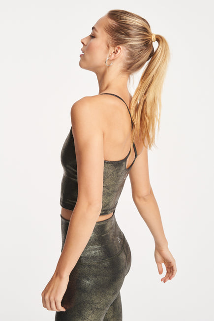 Luxe Leatherette Slim Racerback Crop Tank by Beyond Yoga in Black/Olive Foil 5