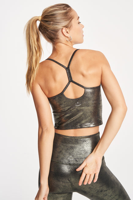 Luxe Leatherette Slim Racerback Crop Tank by Beyond Yoga in Black/Olive Foil 3