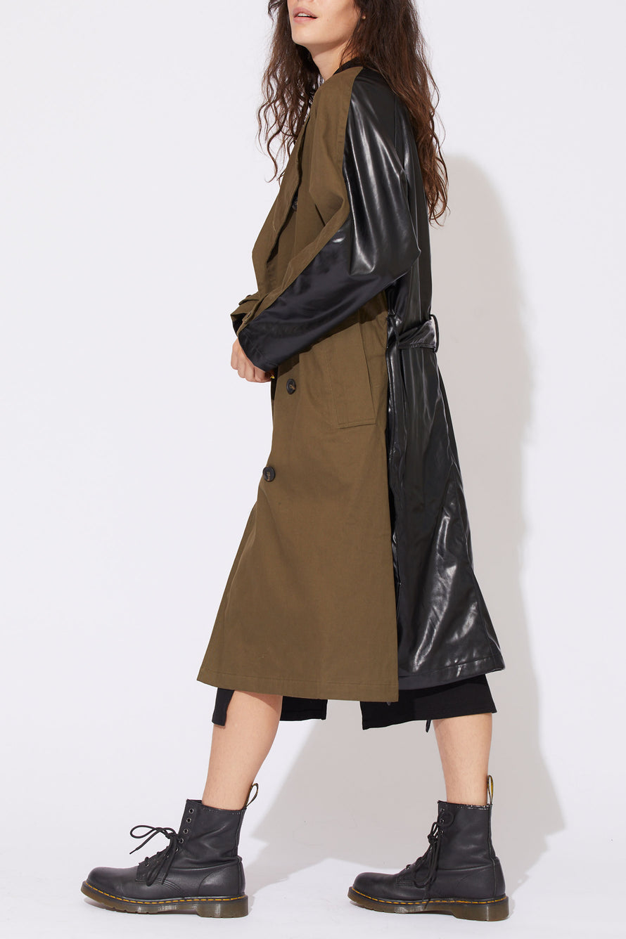 Gladys Contrast Back Trench by NSF in Olive/black 2
