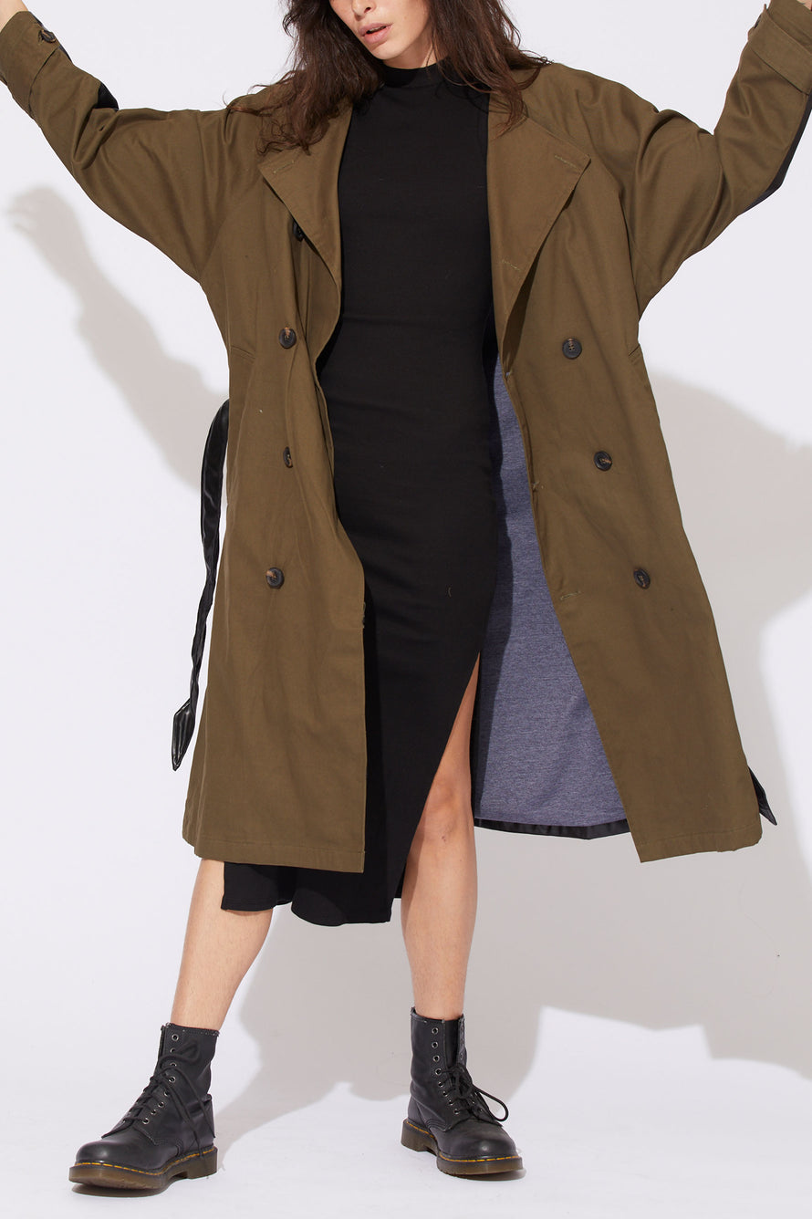 Gladys Contrast Back Trench by NSF in Olive/black 3